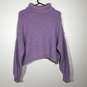 Anthropologie Moth Wool Cropped Mock Neck Sweater